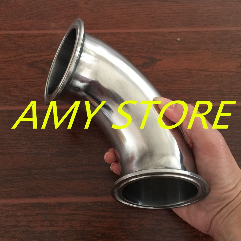 63MM 2 1/2 2.5 Sanitary Ferrule Elbow 90 Degree Pipe Fitting SS304 Tri Clamp 77.5mm SS304 Grade Stainless Steel