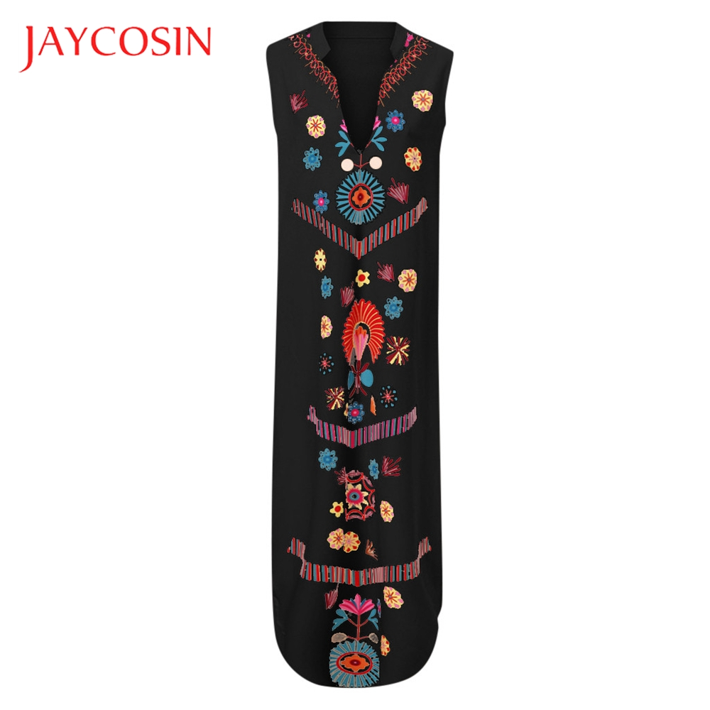 JAYCOSIN Printed Women's  V-neck Maxi Dress Sleeveless Hem Baggy Kaftan Long Dress Mid-Calf  Waistline