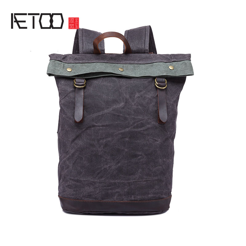 AETOO New oil wax canvas with crazy horse bag shoulder bag manual waterproof retro travel backpack male bag