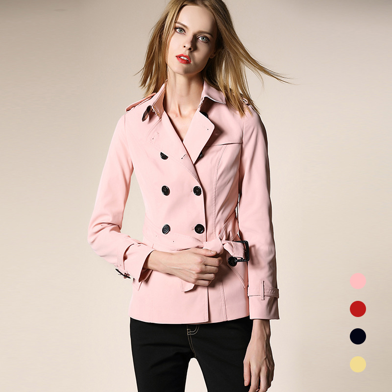 vers Designer kaki Manteau Mince Boutonnage Outwear Rose rose Taille Bleu Tour Kaki Plus De rouge Mode Automne Le Double Bas La Femmes Blousons 2017 Piste qp0Pa0