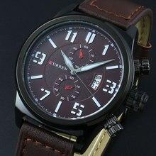 CURREN Мужчины Часы мужские Спортивные Часы Лучший Бренд Класса Люкс Кварцевые часы Военная Кожаный Ремешок армия наручные часы часы календарь