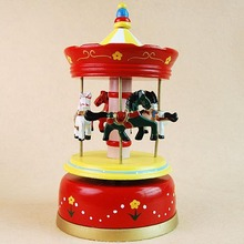 Red resin merry-go-round music box desktop home decoration resin craft creative lover birthday gift