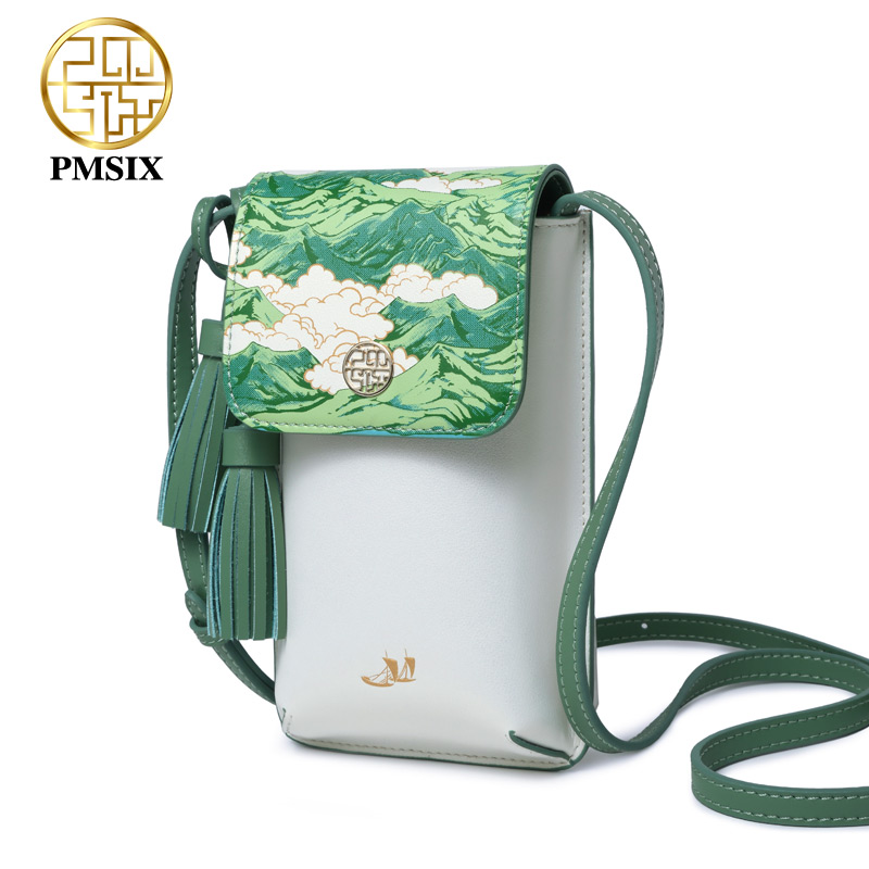 Pmsix 2019 Nieuwe designer merk beroemde in womens'bag Gedrukt Crossbody tas Koe Lederen mode dames Cellphone messenger bags-in Top-Handle tassen van Bagage & Tassen op  Groep 1