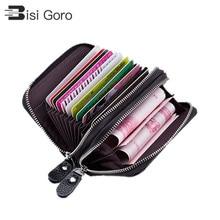 BISI GORO 2019 Women Men Large Capacity Business Credit Card Hoder RFID Blocking Holders Double Zippe Cards Wallet Brand