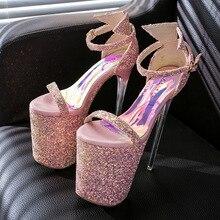 Женщины лето элегантный свадебные блеск розовый и белый на платформа 20 см экстрим тонкий высокие каблуки сандалии насосы обувь F1