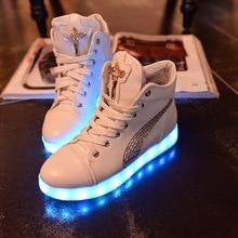 Fashion 8 Colors LED Shoes 2016 Autumn Winter High Top Growing Shoes For women Luminous Shoes White / Black Light Up Shoes