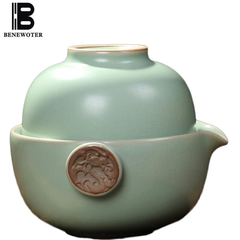 크리 에이 티브 빠른 컵 1 찻 주전자 1 TeaCup 쿵푸 차 세트 중국어 도자기 청자의 푸에르 꽃 홍차 차