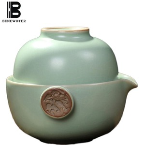 Creative Quick Cup 1 Teapot 1 TeaCup Kung Fu Tea Set Chinese Traditional Ceramic Porcelain Celadon Puer Flower Black Tea Teaware