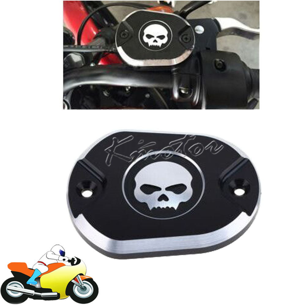CNC Motorcycle Front Brake Pump Cover Master Cylinder Fluid Reservoir Oil Cap Skull Design for Harley Sprotster XL1200 883 04-UP magnum black pearl upper front brake line 33 90 for harley