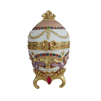 YAFFIL Jewelry Box Royal Luxury Egg Imperial Russia Souvenir Jewellery Box Vintage Egg Standing Box home decoration