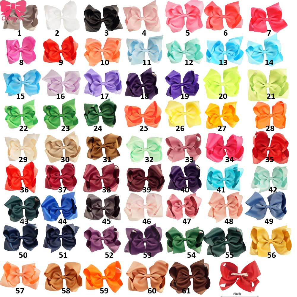 6 Large Hair Bows Girls Boutique Hair Accessories Handmade Solid Ribbon Hair Bow With Clip For Kid Hair Accessories