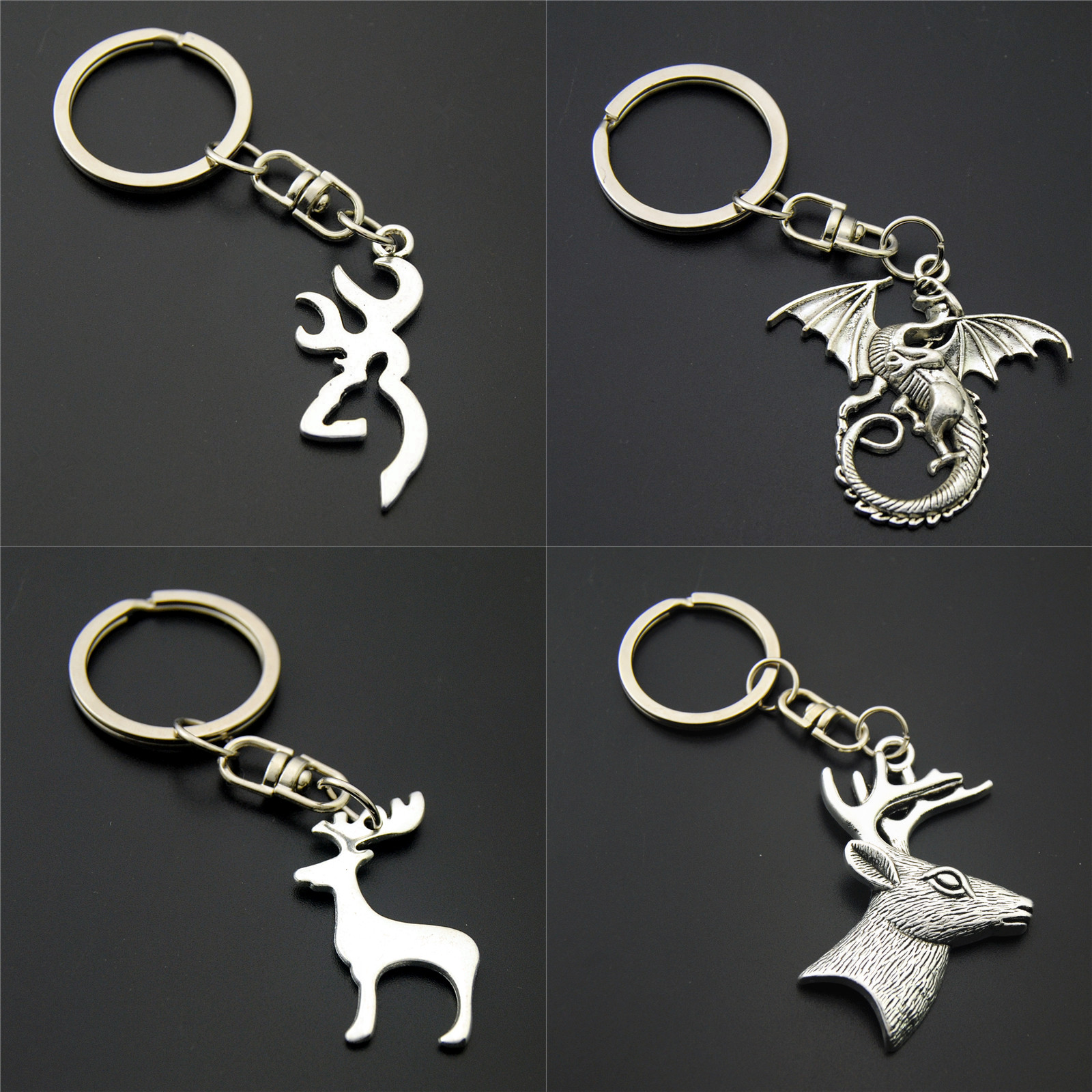 1pc Deer Keychains Dragon Charms Wing Keyring For Key Car Key Ring Bag Handbag Gift Animal Jewelry