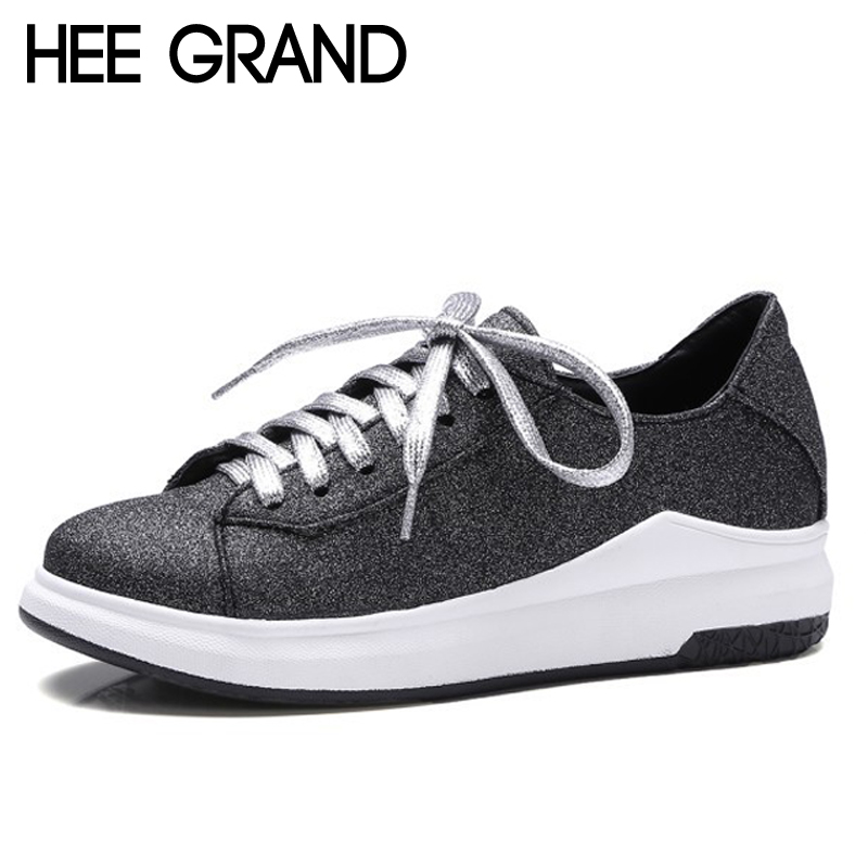 HEE GRAND 2017 Glitter Creepers Bling Shoes Woman Lace-Up Loafers Platform Flats Spring Casual Women Shoes Size 35-43 XWD5273 hee grand camouflage creepers 2017 lace up platform shoes woman wedges loafers slip on flats casual fahsion woman shoes xwd6038