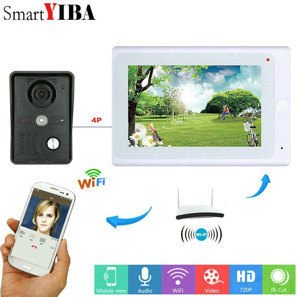 SmartYIBA Video Intercom 7 Inch Monitor Wifi Wireless Video Door Phone Doorbell Camera Intercom System Android IOS APP control