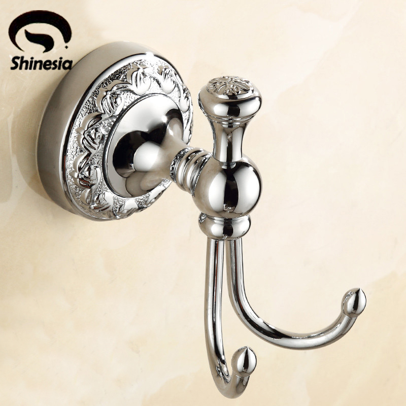 Chrome Polished Bathroom Wall Mounted Bath Towel Hanger Towel Hooks Coat Hook Solid Brass 500pcs pack removable suction cup sucker wall window bathroom kitchen hanger hooks