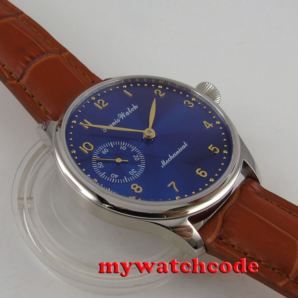 лучшая цена 44mm parnis blue dial 6497 movement hand winding Mechanical mens watch P395