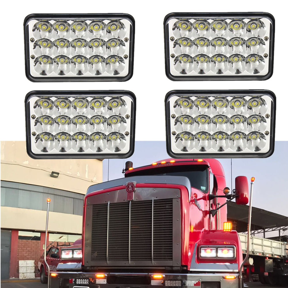 6x4 45w LED sealed beam 12v 24v 4x6 led headlight with H4 Plug used for truck kneworth front 6x4 headlight external lights x4pc