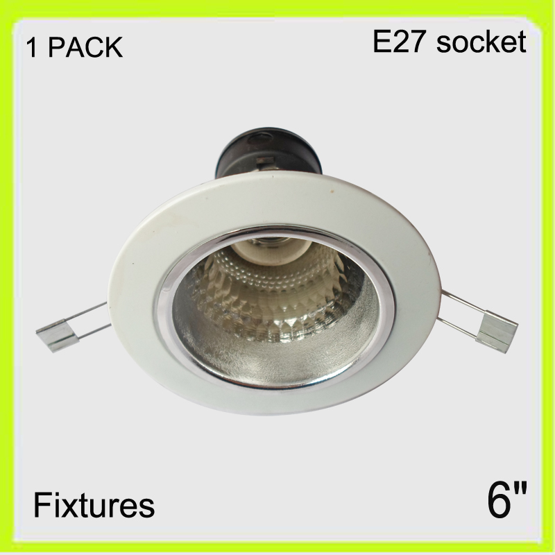 1 pack recessed mounted 6 led down light shade round aluminum fixture+reflector+E27 screw dia180mm not included LED bulbs ...