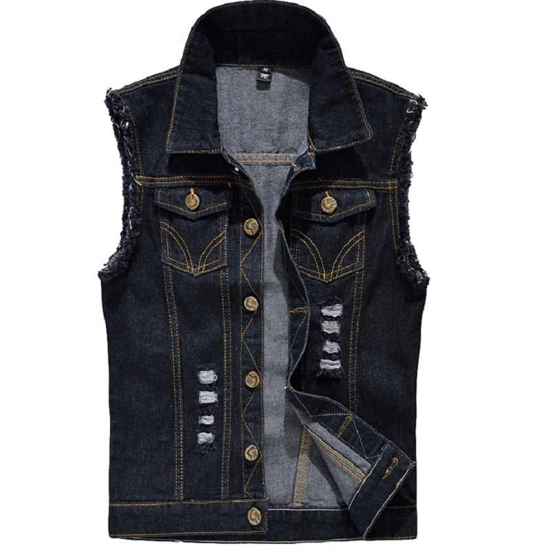 3be0057d73cb7 Denim Vest Mens Sleeveless Jackets Fashion Washed Jeans Waistcoat For Mens  Tank Top Cowboy Male Ripped