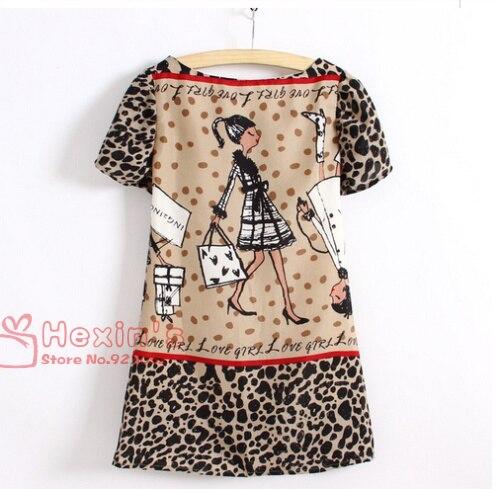 2014 новинка женская одежда характер девушка печать леопарда печатных шифоновое платье с коротким рукавом о шеи мини платья в наличии