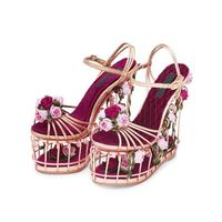 Top Quality Platform Shoes Summer Women Hollow Wedges Rose and leaves Studded Sandals Wedding/Party Shoes 17CM Super High Heels