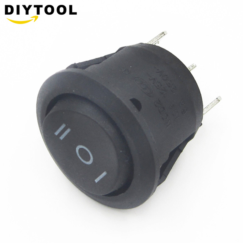 5PCS Mini Round Black 3 Pin SPDT ON-OFF-On Rocker Switch Snap-in For Car Boat
