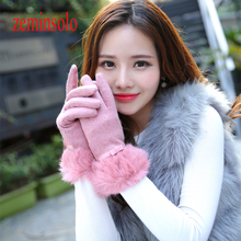 Winter Wrist Ladies Cashmere Gloves For Touch Screen Female Rabbit Fur Wool Mittens Gloves Sweet Elegant All Match Women Gloves