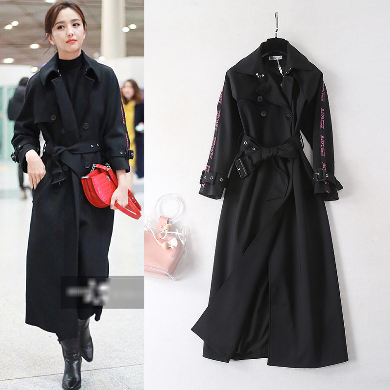 2019 Spring Summer Double Breasted   Trench   Coat Women Adjustable Waist Slim Solid Black Coat Long   Trench   Female Outerwear X927
