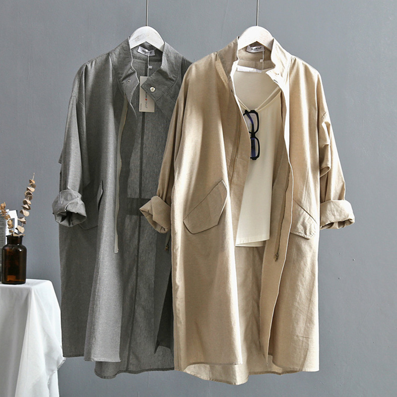 Harajuku Style   Trench   Coat For Women Spring Fashion Casual Long Coat Women Loose Cotton Linen   Trench   Coat Thin Windbreaker C5275
