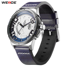 цена на WEIDE Luxury Leather Men Analog Quartz Calendar Sport Wrist Watch Genuine Simple Fashion Casual Water Resistant Clock Blue Hour
