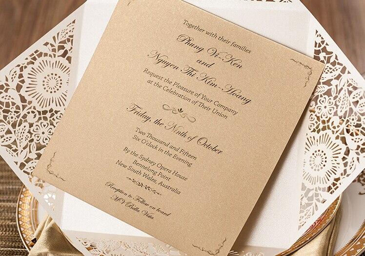 Exquisite Ivory Laser Cut Wedding Invitation Cards
