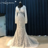 RW558 Real Open Back Sexy Ball Gown Plunging V Neck Lace Wedding Dress 2015 With Sequins