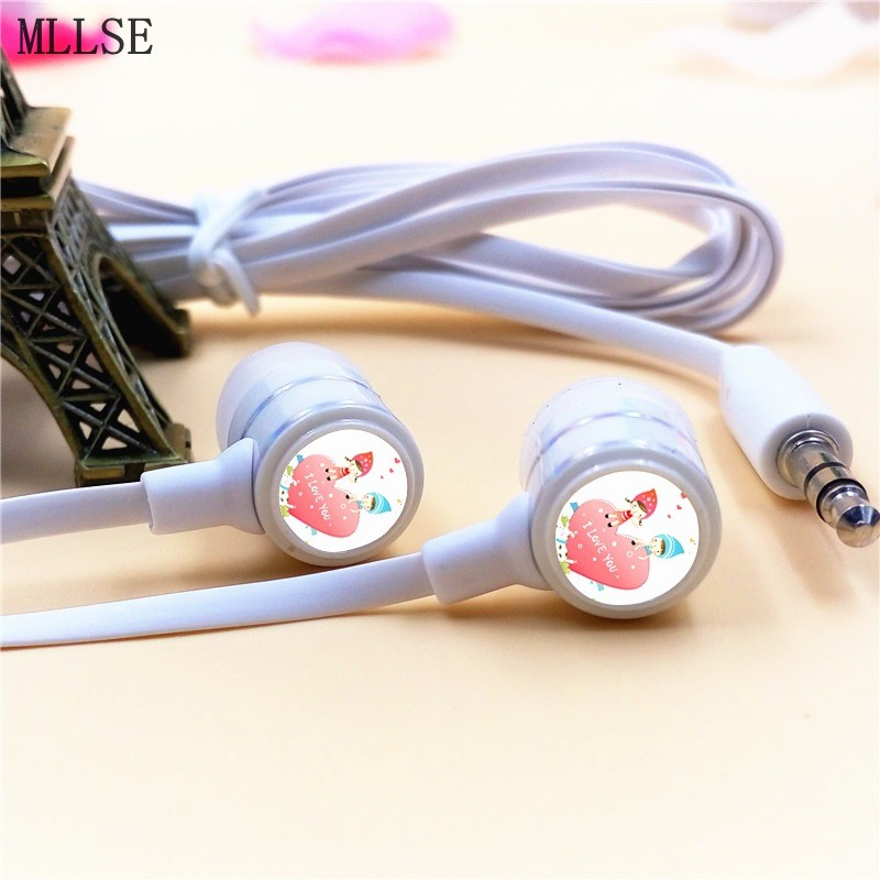MLLSE Valentines Day I LOVE YOU Heart In-ear Earphone 3.5mm Stereo Earbuds Phone Music Game Headset for Iphone Samsung MP3