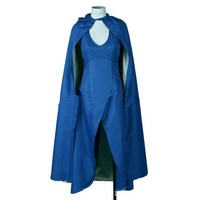 Game of Thrones Daenerys Targaryen Womens Blue Cosplay Dress 2 pcs/Set Dress/Cloak on Sale Now for Comic con KSP014