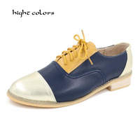 New 2015 Fashion Vintage Neutra Women Flat Lace Up Brogue Oxford Shoes For Ladies Casual Flat