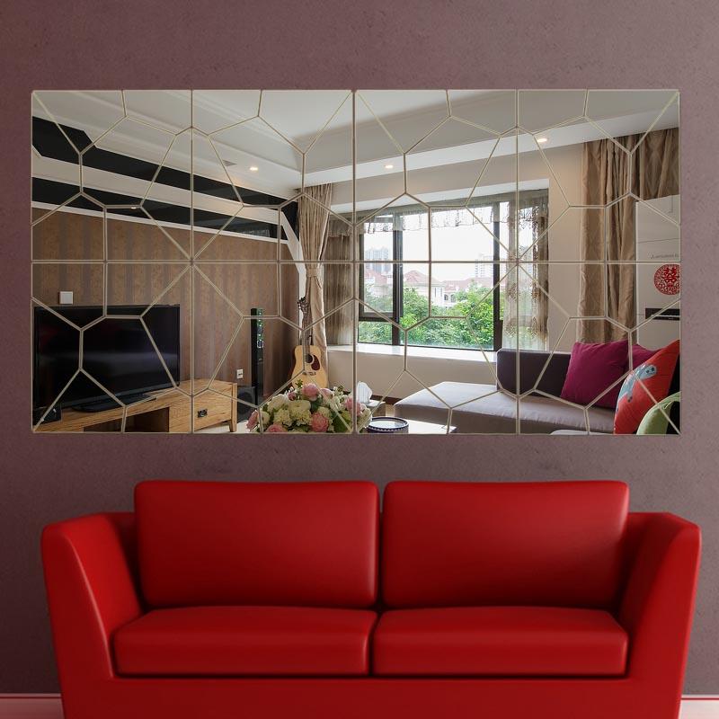 moza maison decoration 4 lot set diyadesivo de parede 3d grand miroir stickers muraux salon mur home decor 20x80 cm mur baton