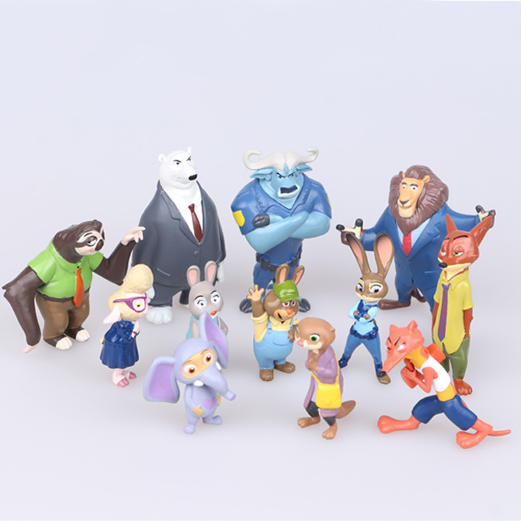 12Pcs/Lot Lovely Cartoon Movie Scene Ornament Zootopia Toys Rabbit Nick Fox Judy Mini PVC Anime Figure Model Dolls Wholesale