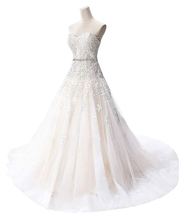 2019 A-line Applique Beads Sweetheart Lace-up Bodice Court Train Wedding Dress Vestidos De Novia
