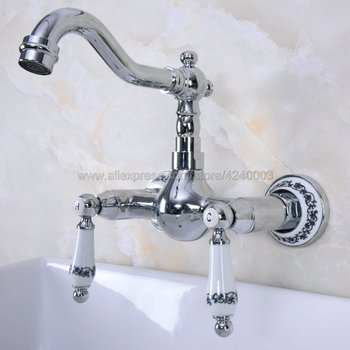 Polished Chrome Dual Handles Bathroom Kitchen Sink Faucets Wall Mounted Swivel Spout Kitchen Mixer Taps Kna962