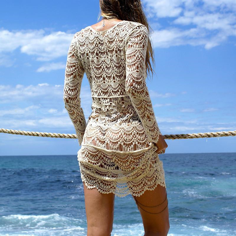 2018 Sexy Beach Cover up Crochet White Swimwear Dress Ladies Bathing Suit Cover ups Beach Tunic Saida de Praia