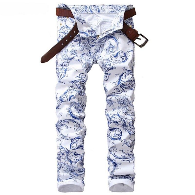 Blue White Print Jeans Men Skinny Cotton Slim Mens Stretch Denim Jeans Brand Hip Hop Casual Pencil Pants Elastic Male Trousers patch jeans men slim skinny denim blue jeans ripped trousers famous brand dsel jeans elastic pants star mens stretch jeans w701