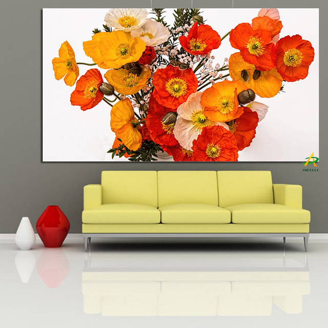 YWDECOR Poppies Bouquet in Vase Canvas Painting Art Picture Digital ...