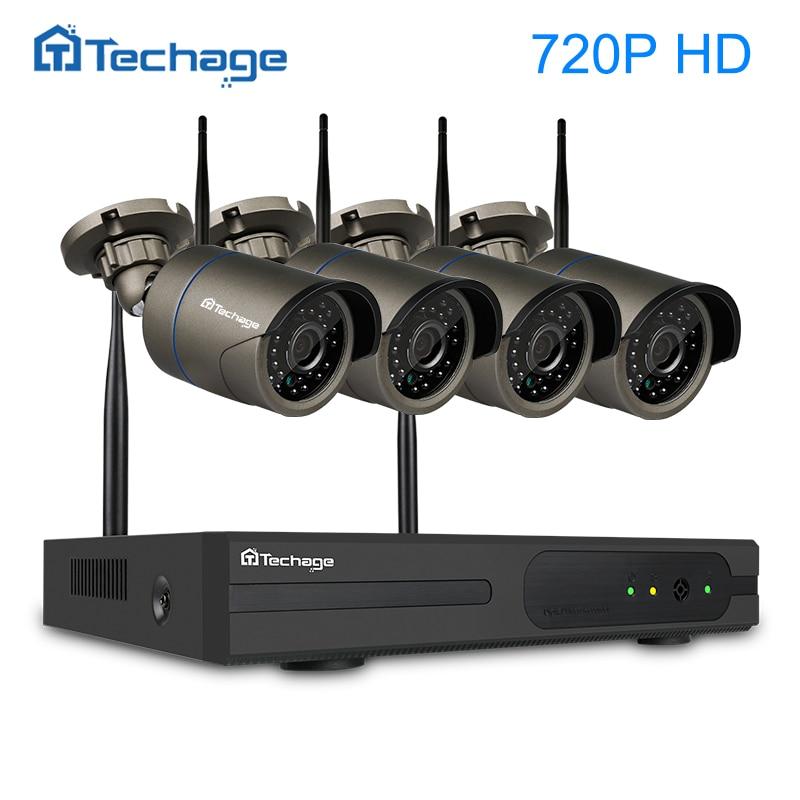 Купить на aliexpress Techage Подключи и играй 4ch 1080p в HD качестве Р2Р беспроводной nvr комплект 720p крытый Открытый ИК ночного видения безопасности IP камера WiFi система видеонаблюдения