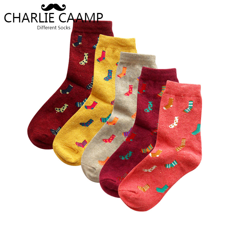 Women   socks   2018 autumn winter new fashion 5 color cartoon pattern series ladies trend Harajuku literary wool blend   socks   G105