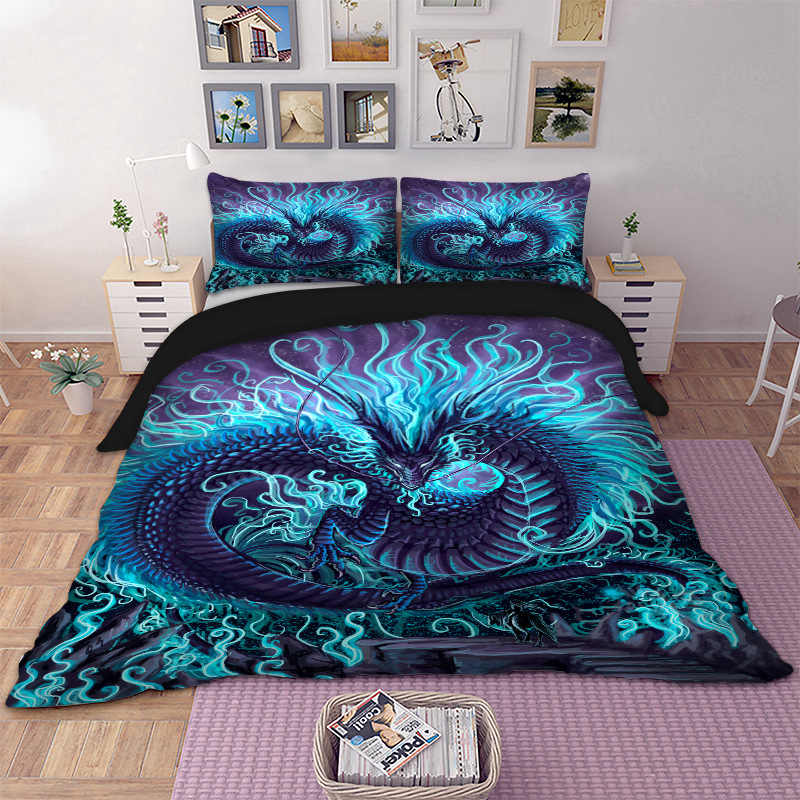 Blue Dragon Bedding Set for comforter Duvet Cover set with Pillow Cases Twin Full Queen King Super King bed linen set new 3pcs