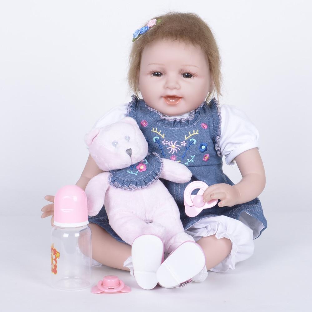55cm Cute Reborn Girl Doll Soft Silicone Realistic Newborn Baby with Cloth Body Toy for Kids Birthday Xmas Gift Bebe цены