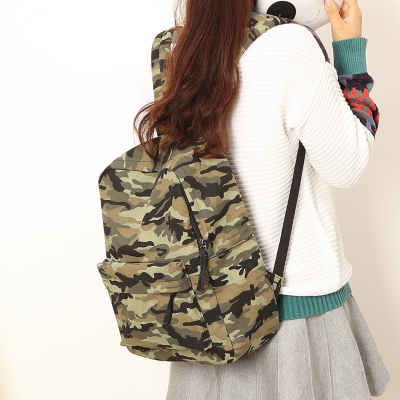 Fashionable camouflage design canvas simple women backpack college school student book bag leisure backpack travel bag pretty style pure color canvas women backpack college student school book bag leisure backpack travel bag