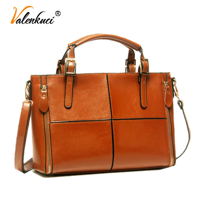 Valenkuci Women Genuine Leather Handbags Crossbody Bags For Women Messenger Bags Top Handle Bags Cow Leather