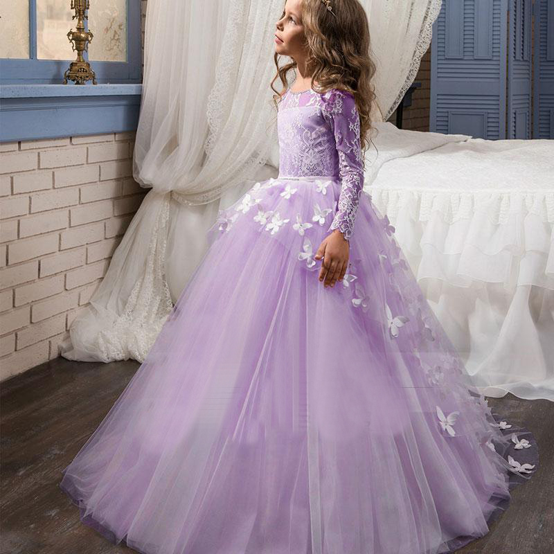 Luxury Flower Girl Dress Tulle Lace Appliques Dress for Wedding First Communion Dresses Party Gowns Pageant Girls Ball Gown D90 2018 sky blue vintage communion dress with lace appliques long tail tulle ball gown for girl party pageant gowns