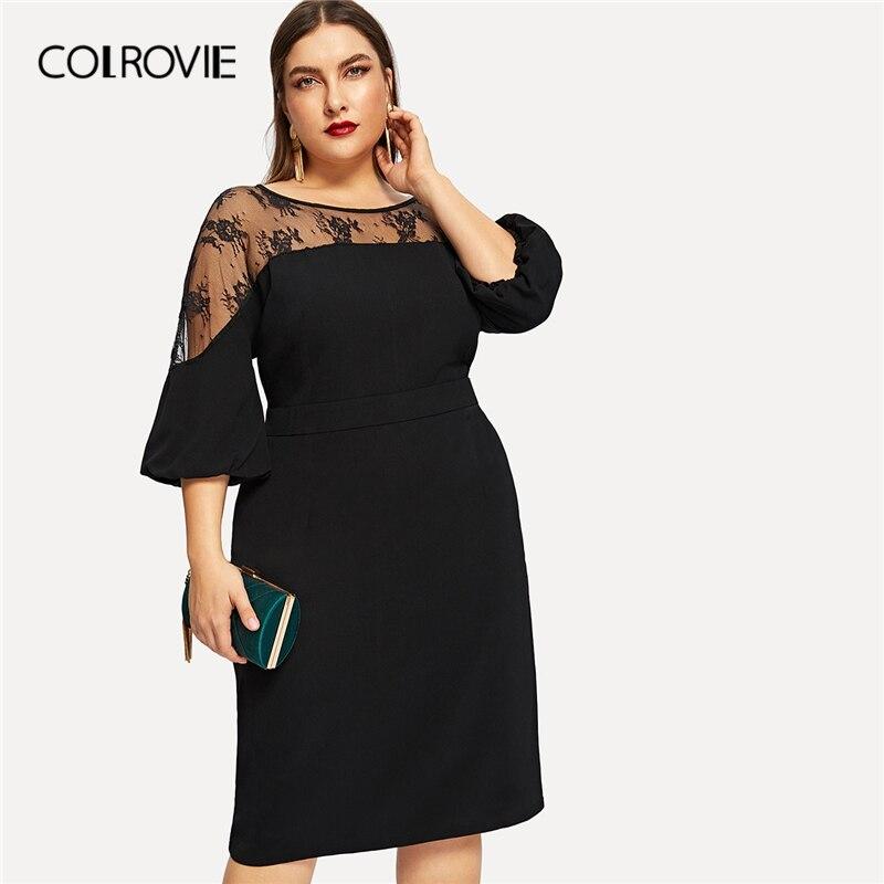 17699c0fbbd COLROVIE плюс размеры черный сплошной контрастной сетки элегантное платье  Женская одежда лето 2019 г. высокая талия карандаш вечерние пикантные